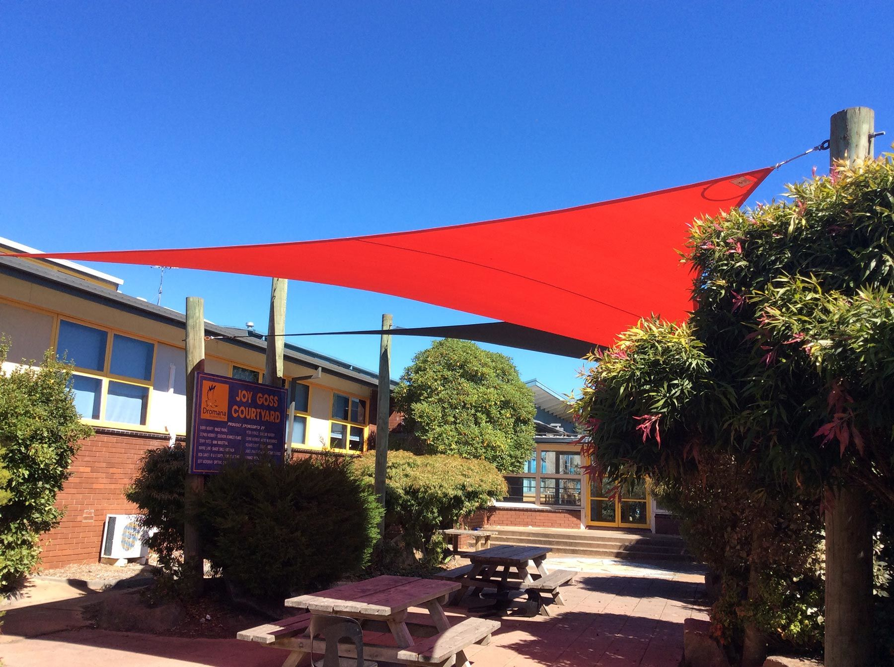red shade sail in school Dromana