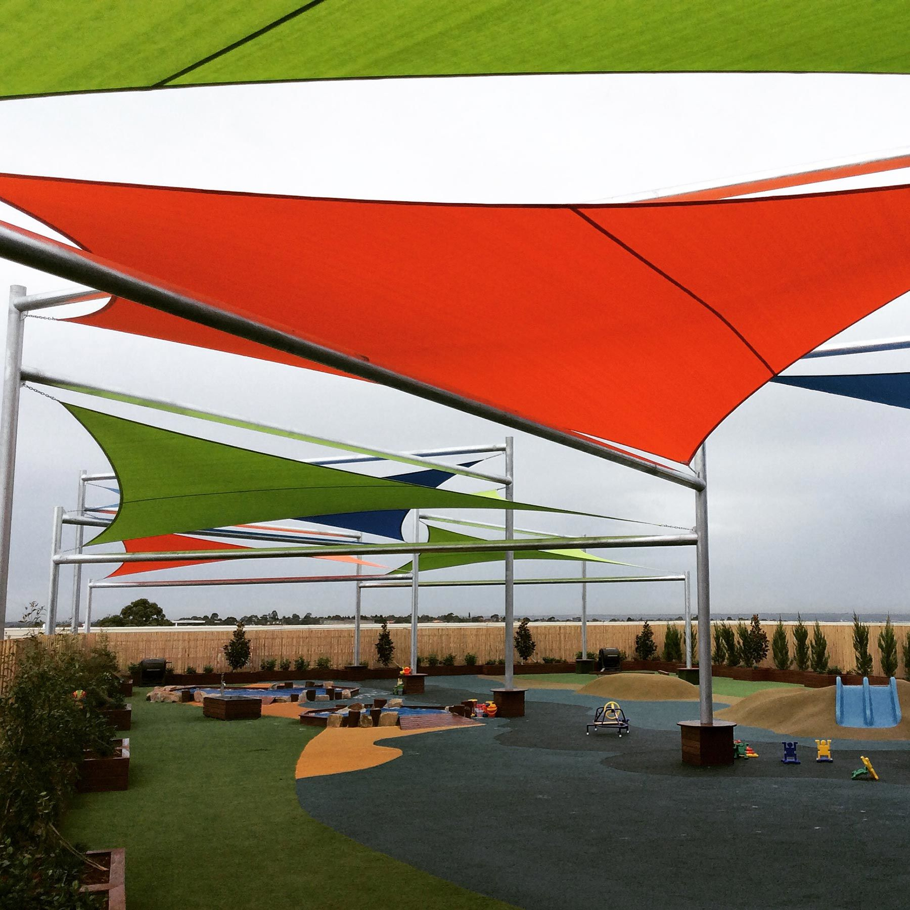 multiple shade sail for Melbourne playground cover