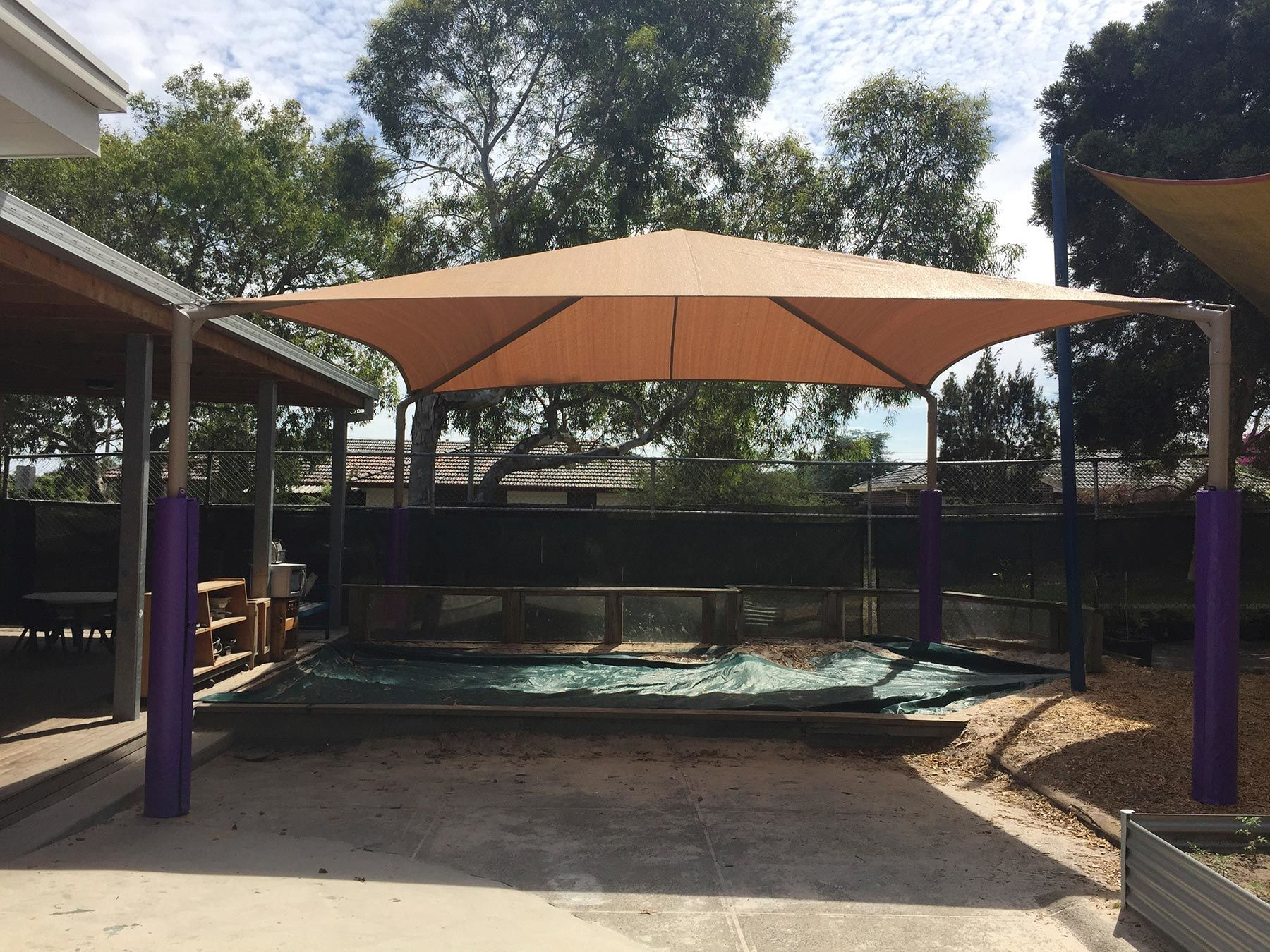 four post sand pit shade cover mornington peninsula